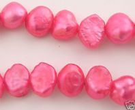 15 Inch Fresh Water Pearls 6-7mm Flat Side Beads Red